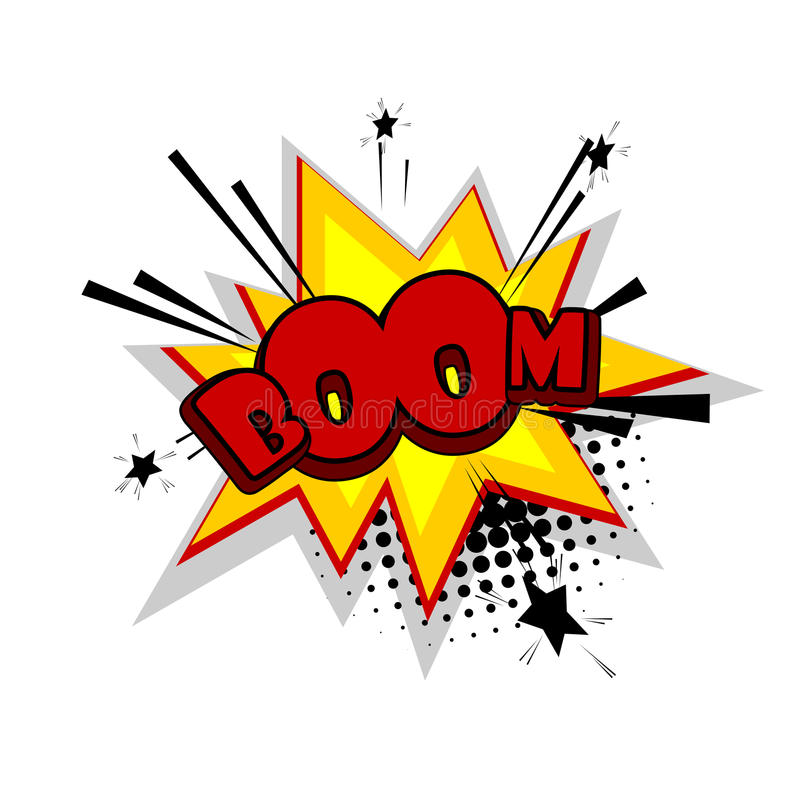 Comic text boom. Cartoon exclusive font label tag expression. Lettering Boom, crash, bang. Bubble icon speech phrase. Comic text sound effects. Sounds vector stock illustration