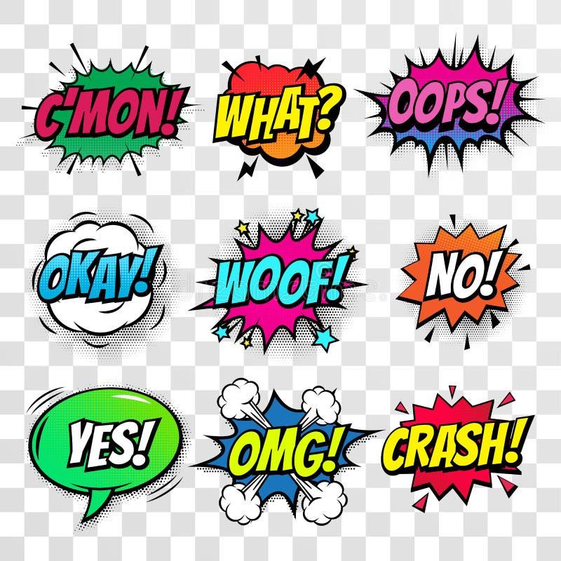 Comic text bubbles vector icons set vector illustration
