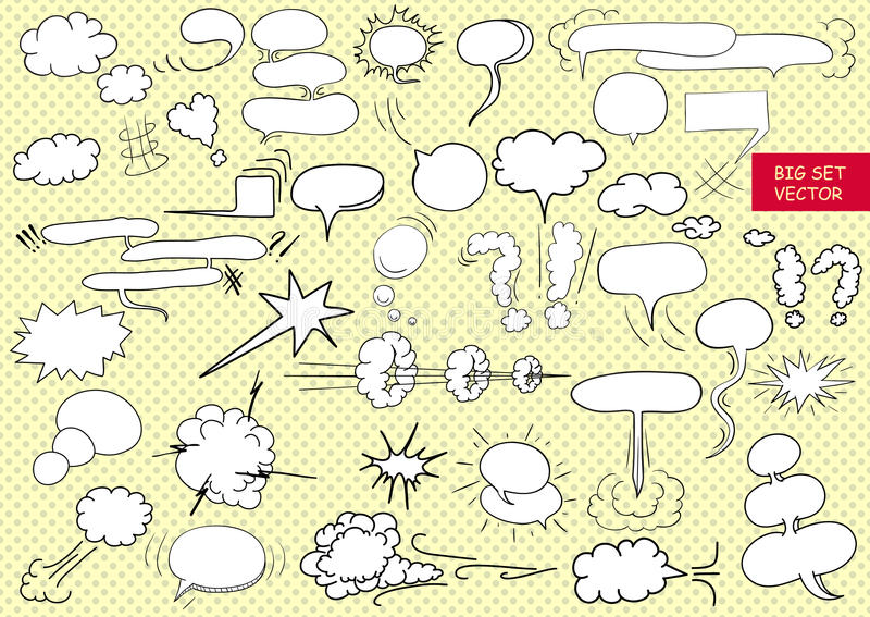 Comic text clouds in pop art style, set, hand drawn, vector vector illustration