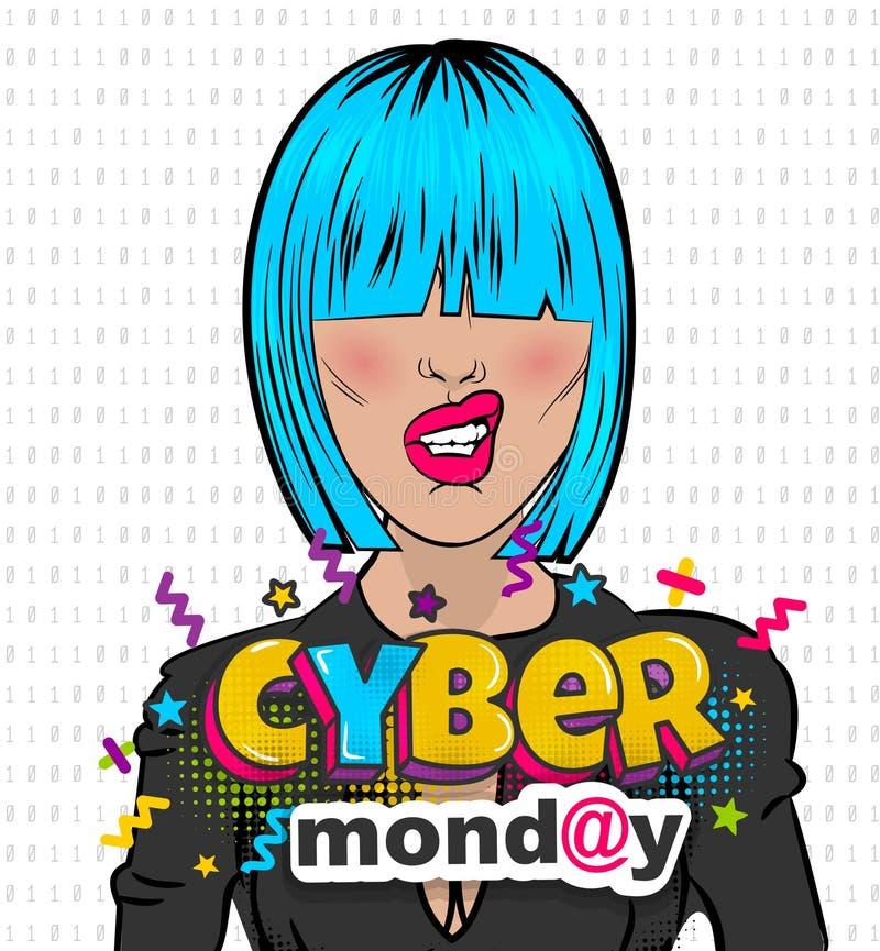 Woman pop art computer hacker cyber Monday vector illustration
