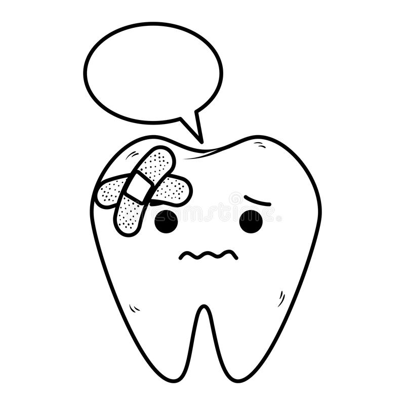 Comic tooth with speech bubble and bandages. Vector illustration design royalty free illustration