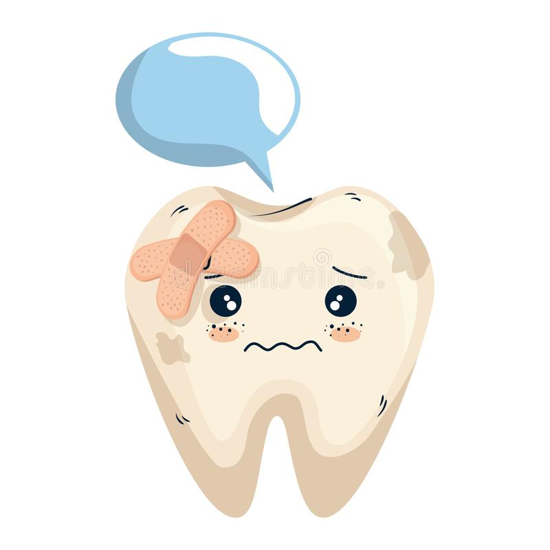 Comic tooth with speech bubble and bandages. Vector illustration design stock illustration
