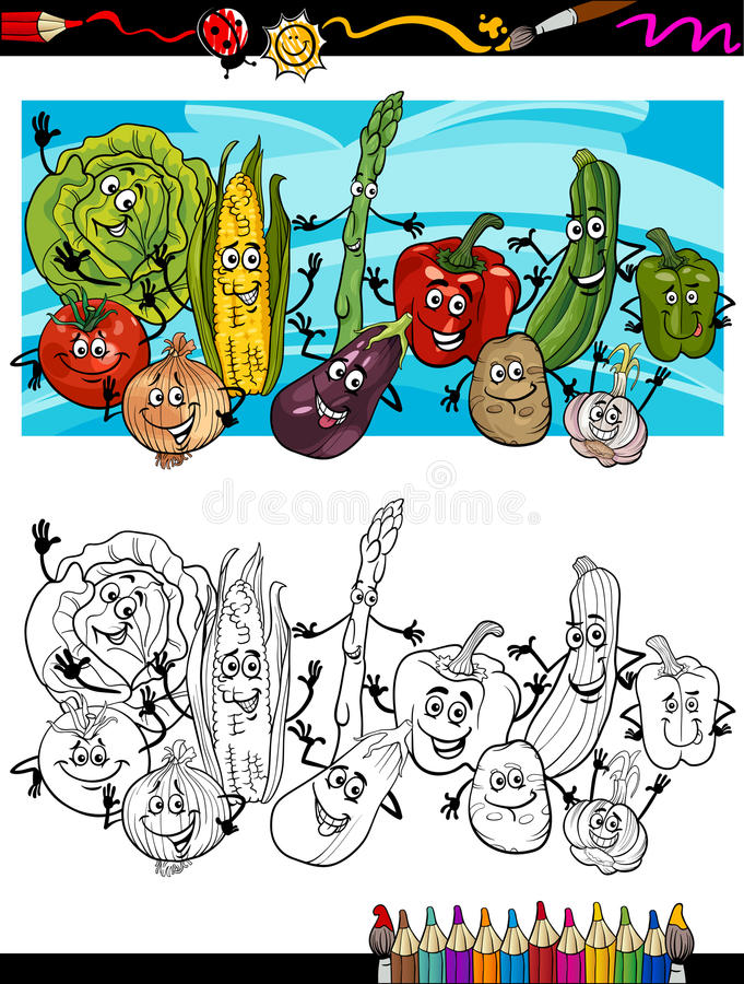 Comic Vegetables Cartoon For Coloring Book Royalty Free Stock Image