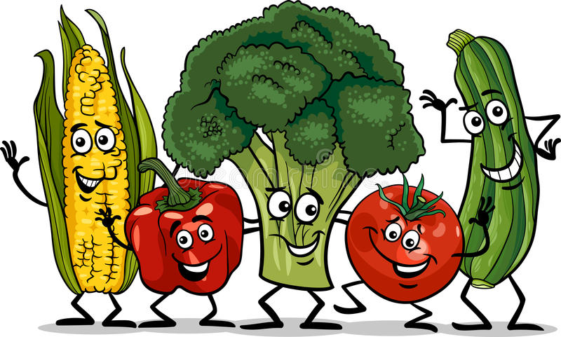 Comic vegetables group cartoon illustration stock illustration