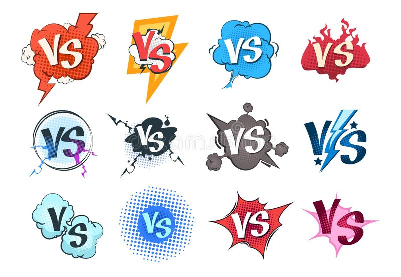 Comic versus logos. VS pop art retro game concept, cartoon fight bubble template, boxing competition. Vector versus. Challenge set royalty free illustration