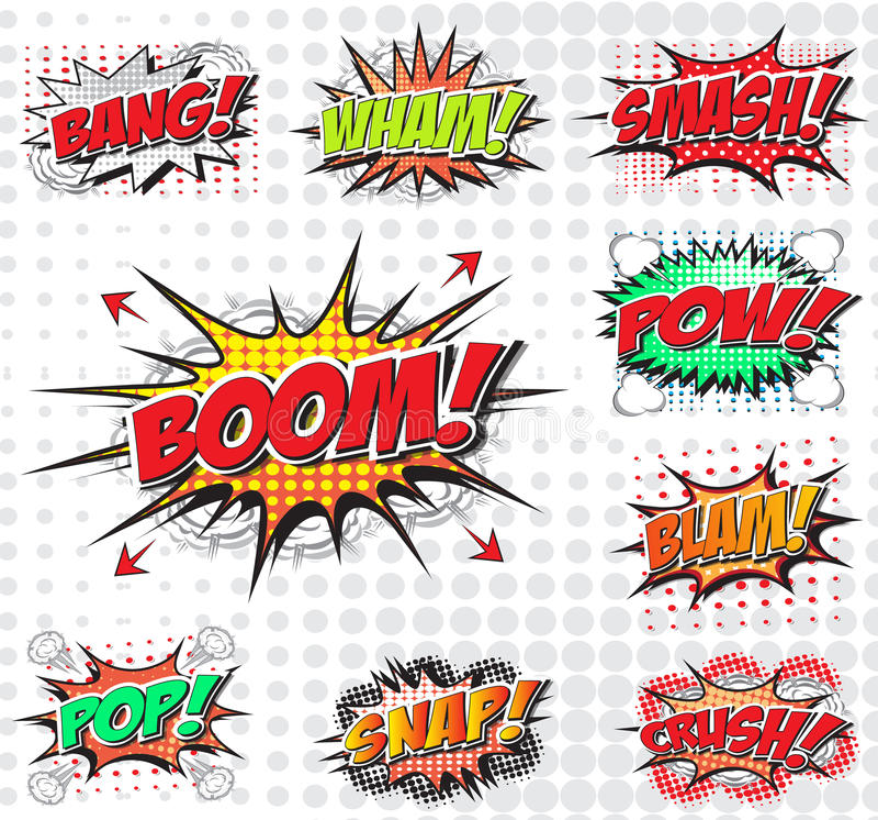 Comic wording set vector illustration