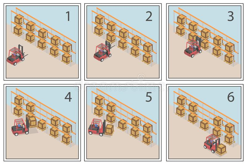 Comic about the work of the forklift. royalty free illustration