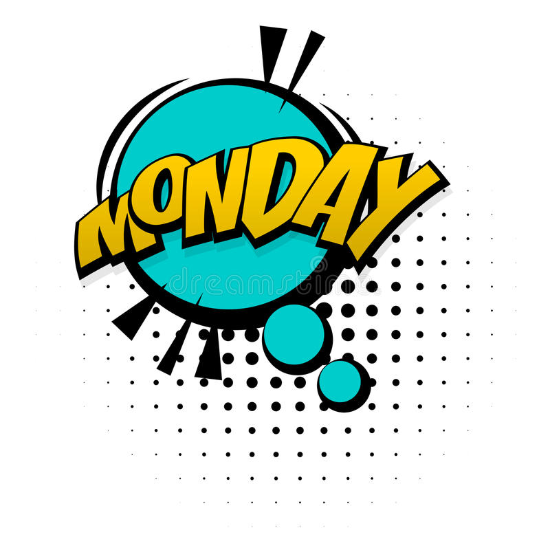 Comic yellow sound effects pop art monday week vector illustration