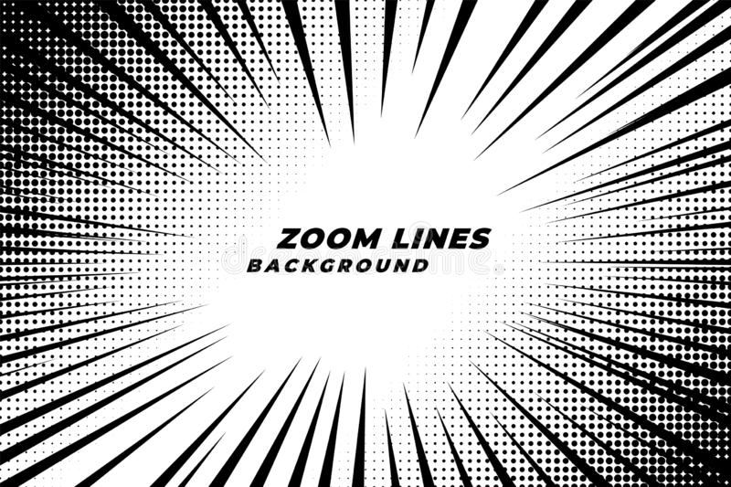 Comic zoom lines motion background with halftone effect vector illustration