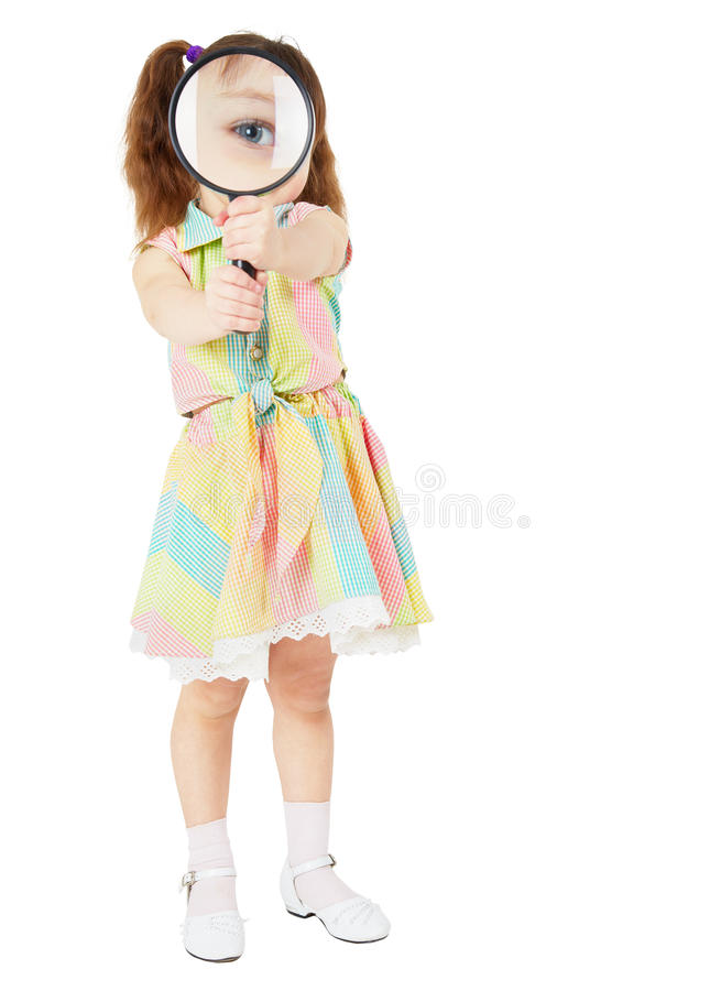 Free Comical Child With Magnifying Glass In Hands Stock Image - 13721881
