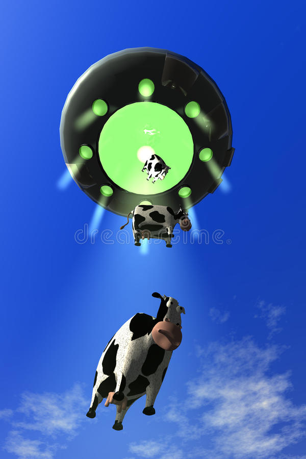 Download Comical Cow Abduction 3 stock illustration. Illustration of science - 16689359