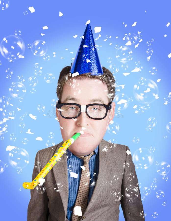 Download Comical Dad Celebrating Fathers Day In Party Hat Royalty Free Stock Photography - Image: 31334227