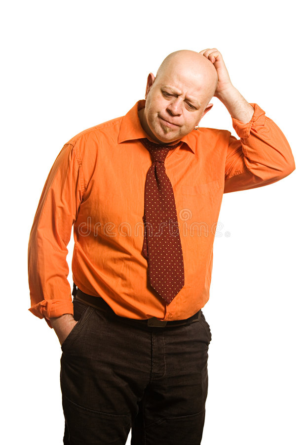 Download The Comical Fat Man In An Orange Shirt Royalty Free Stock Photos - Image: 5404438
