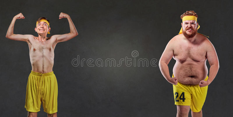 Comical and funny fat and thin athletes stock photos