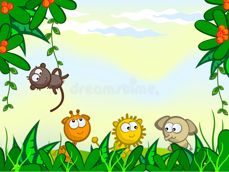 Comical jungle background stock illustration