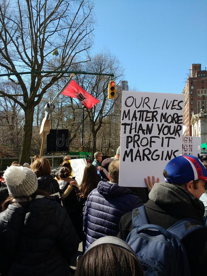 Profit Margins, March for Our Lives, Protest, NYC, NY, USA royalty free stock image