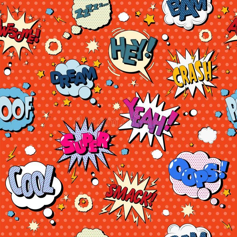 Comics-Blasen-nahtloses Muster im Knall Art Style lizenzfreie abbildung