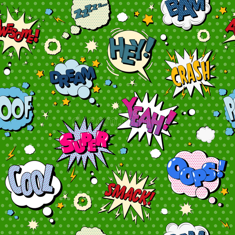 Comics Bubbles Seamless Pattern in Pop Art Style stock illustration