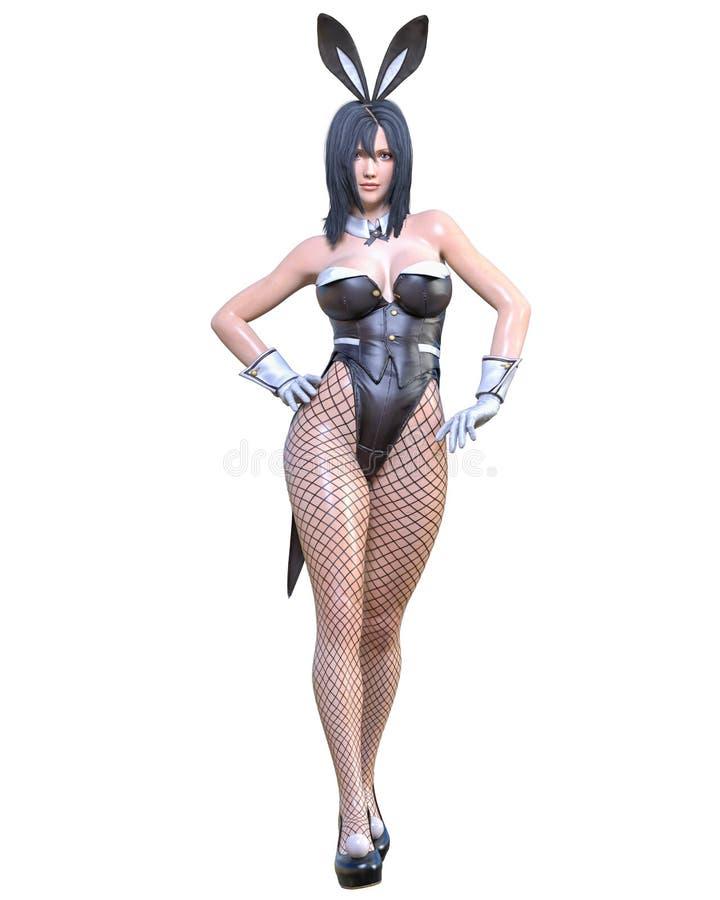 Comics 3D cosplay Anime-Häschenmädchen lizenzfreie abbildung