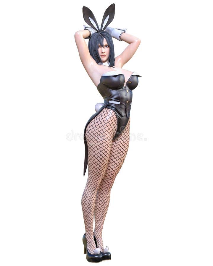 Comics 3D cosplay Anime-Häschenmädchen stock abbildung
