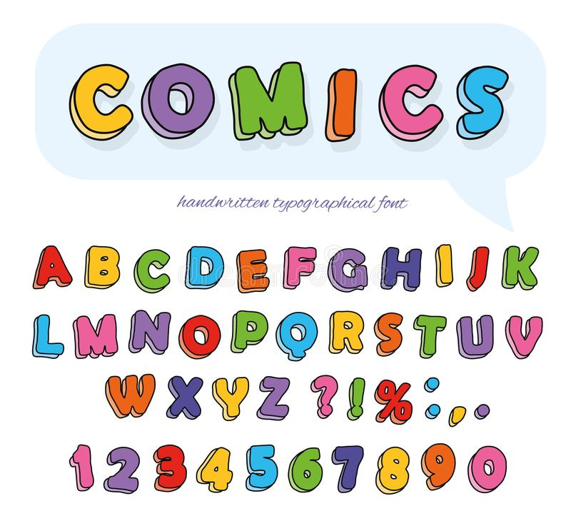 Comics font design. Funny hand drawn letters and numbers. Vector stock illustration