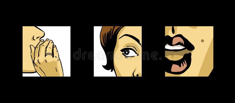 Comics gossip. Shocking news, gossiping women comics style drawing stock illustration
