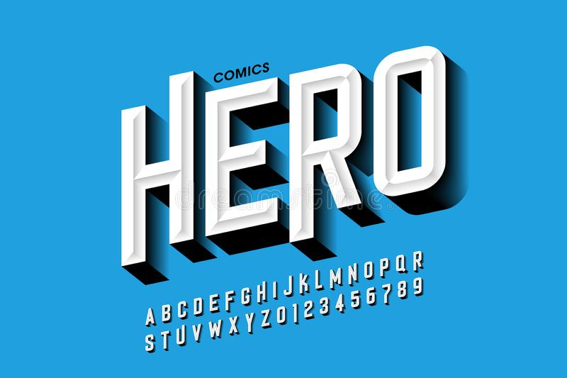 Comics hero style font. Design, alphabet letters and numbers vector illustration