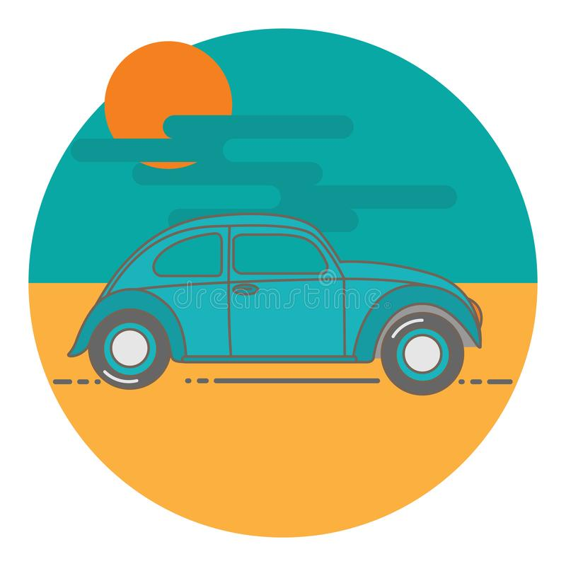 Comics illustration of a old car royalty free stock photo