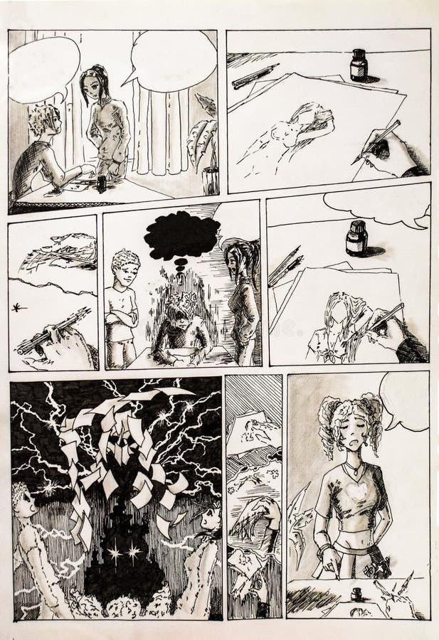 Comics, Kommentare und Kritik des Künstlers und seiner Reaktion auf sie Zahl Gelschreiber und Bleistift stock abbildung