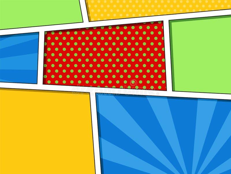 Comics löschen Planschablone mit Wolkenstrahln- und -punktmuster auf Hintergrund, Pop-Arten-Art lizenzfreie abbildung