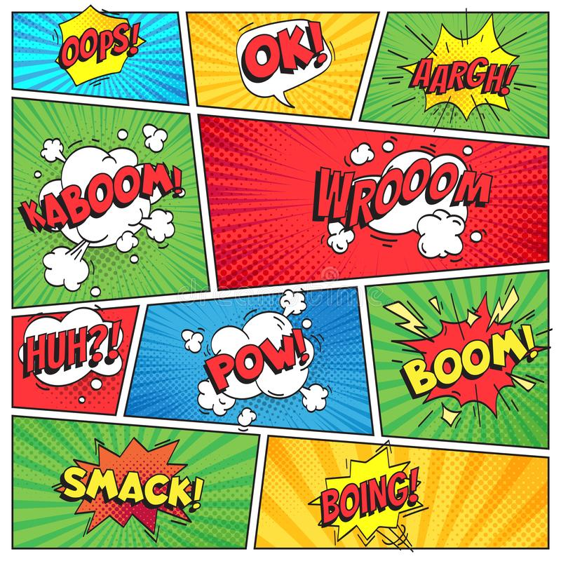 Comics page. Comic book grid frame, funny oops bam smack text speech bubbles on color stripes background vector layout stock illustration