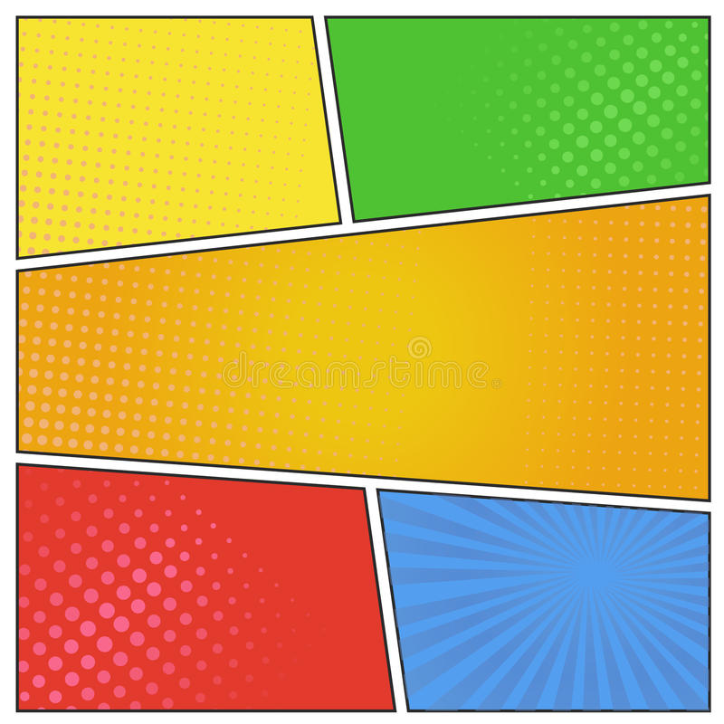 Comics pop art style blank layout template with dots pattern on background. vector illustration