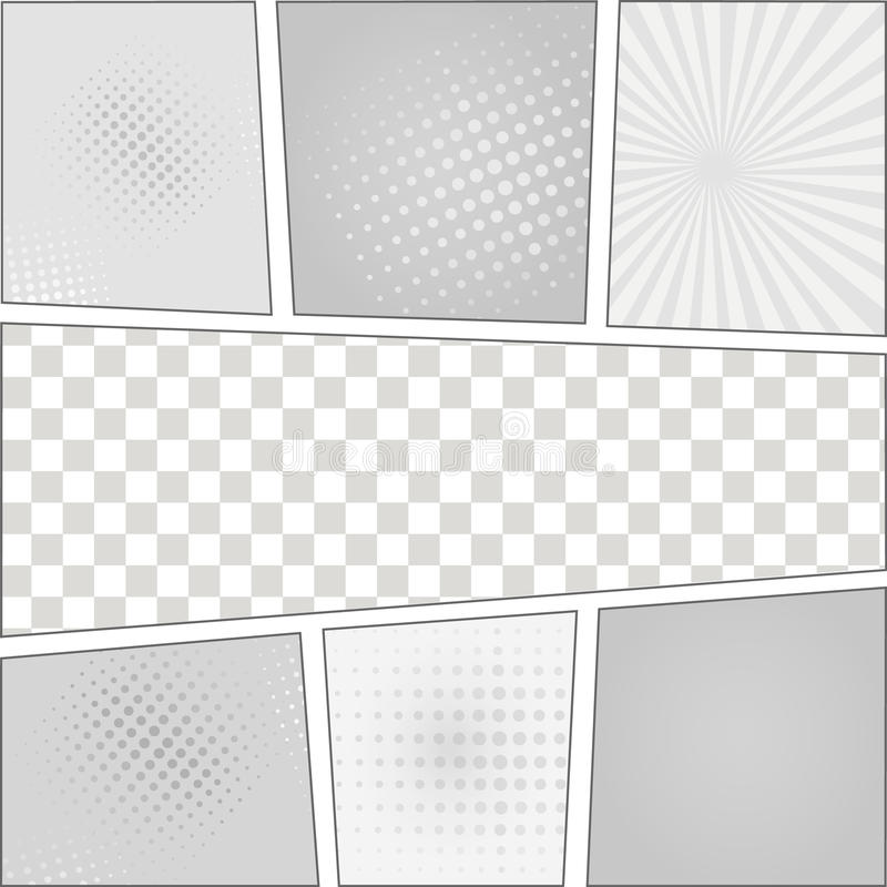 Comics pop art style blank layout template with vector illustration