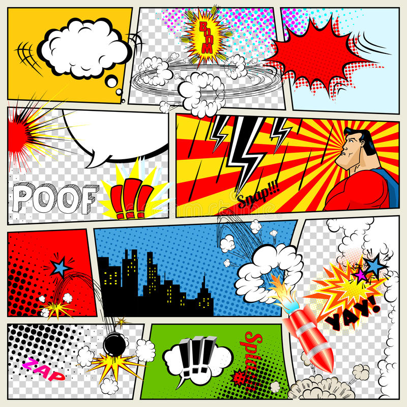 Comics-Schablone Vektor-Retro- Comic-Buch-Sprache-Blasen vektor abbildung