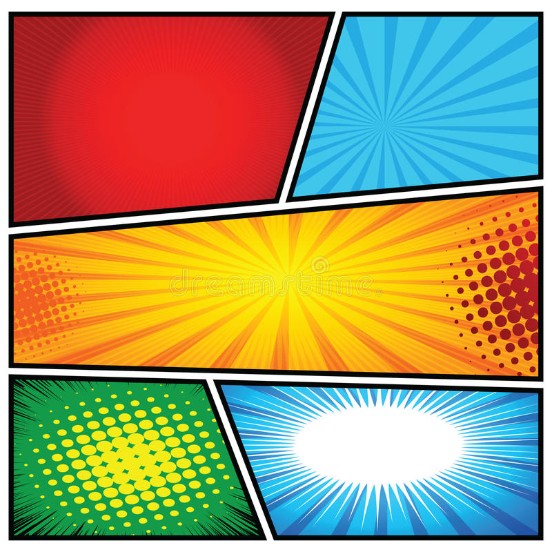 Comics-Schablone Vektor-Retro- Comic-Buch-Sprache-Blasen-Illustration vektor abbildung