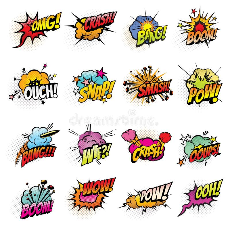 Comics bubbles with speech and sound effect clouds vector illustration