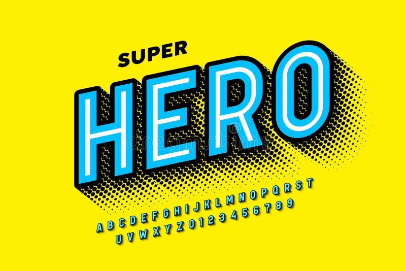 Comics Super Hero-stijllettertype royalty-vrije illustratie