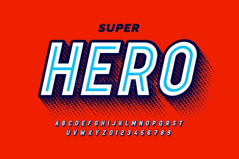 Comics Super Hero-stijllettertype stock illustratie