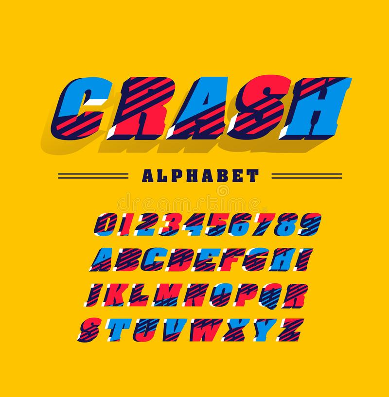 Comics super hero style police, alphabet lettres et chiffres illustration de vecteur