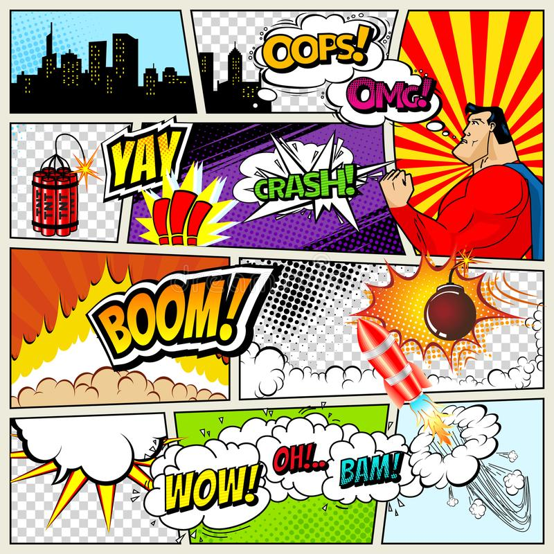 Comics Template. Vector Retro Comic Book Speech Bubbles Illustration. Mock-up of Comic Book Page with place for Text. Speech Bubbls, Symbols, Sound Effects royalty free illustration