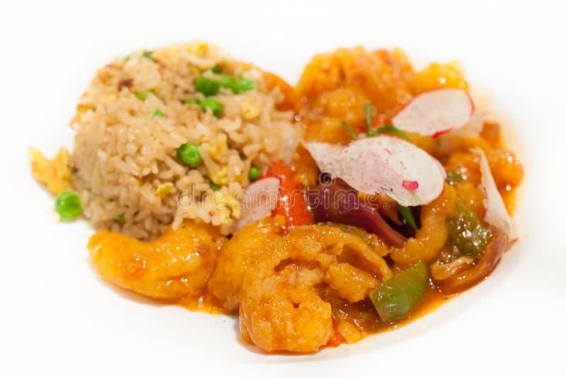 Comida asiática de los mariscos con arroz fotos de archivo libres de regalías