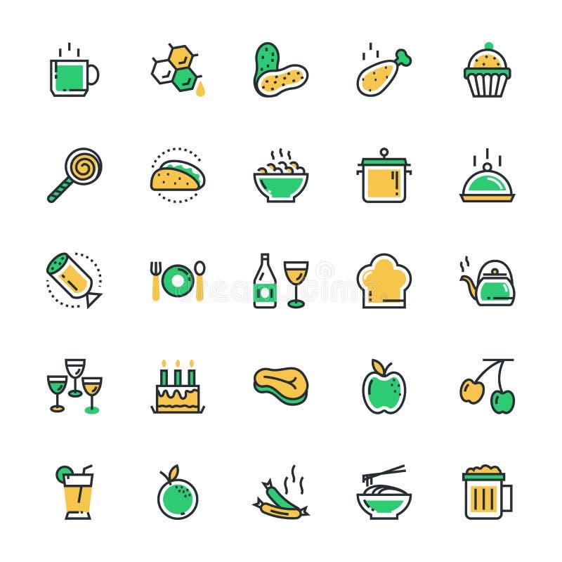 Comida, bebidas, frutas, iconos 2 del vector de las verduras ilustración del vector