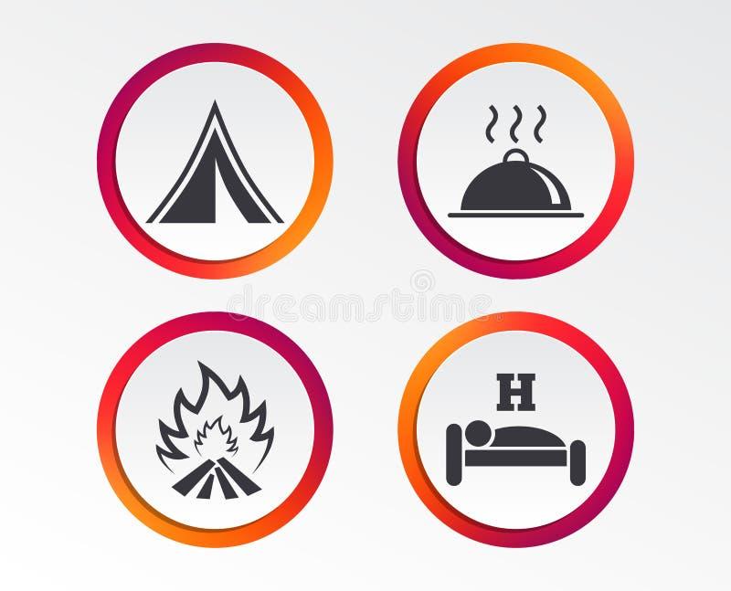 Comida caliente, sueño, tienda de campaña y muestras del fuego libre illustration