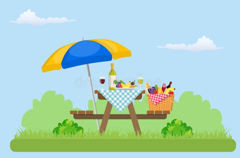 Comida campestre al aire libre en parque stock de ilustración