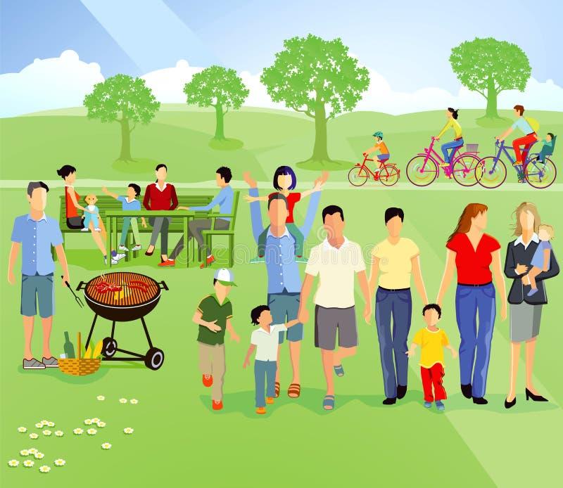 Comida campestre de la familia ilustración del vector