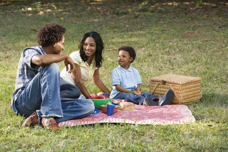 Comida campestre de la familia en parque. imágenes de archivo libres de regalías