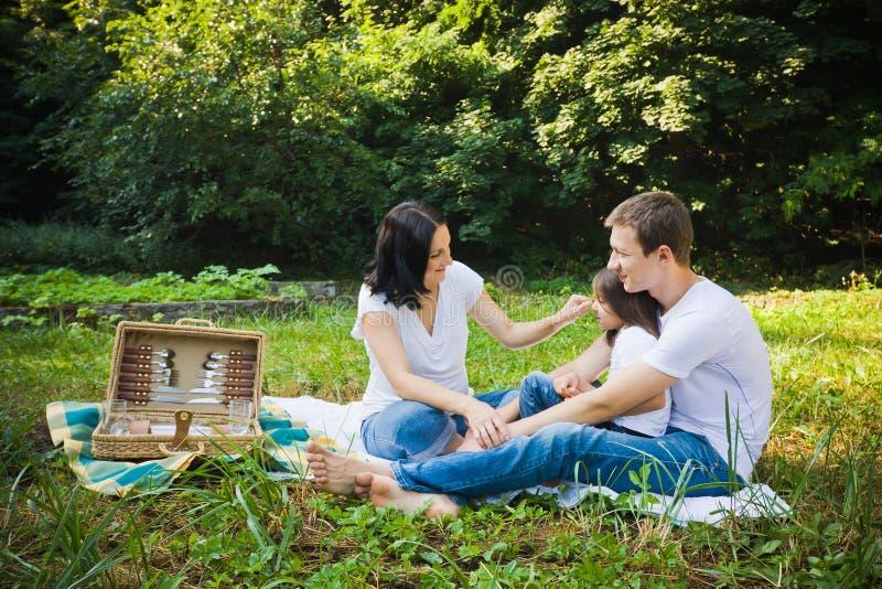 Comida campestre de la familia en un parque imagen de archivo