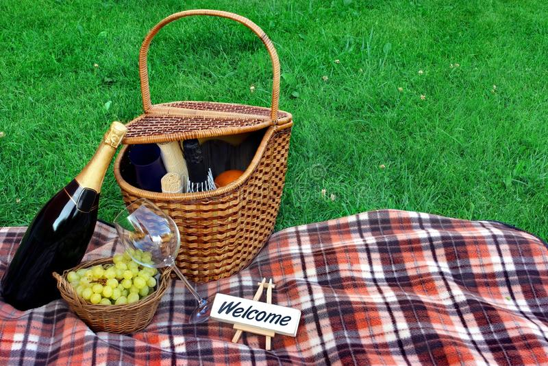 Comida campestre del fin de semana del verano con el vino en el concepto del césped fotografía de archivo libre de regalías