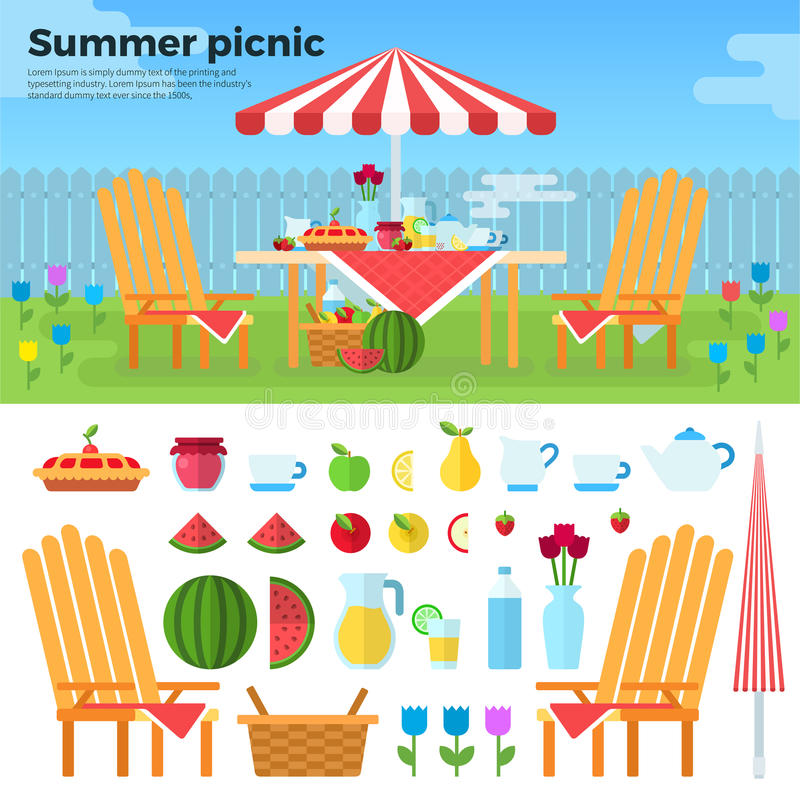 Comida campestre del verano e iconos de comidas libre illustration