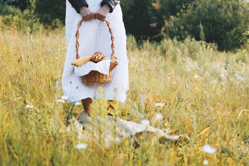 Comida campestre del verano en el prado muchacha que sostiene una cesta de la comida campestre con la fruta y el jugo imagenes de archivo